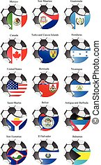 Set of icons. North and Central America's flags with soccer ball.