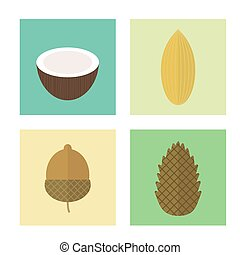 Set of icons nuts. Vector elements