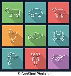 Set of icons of animals
