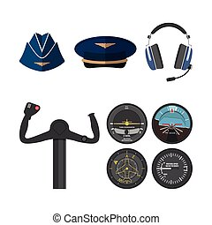 Set of icons of aviation in a flat style. Objects pilots and stewardess. Aircraft items.