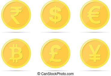 Set of icons of coins on the isolated white background. Bank notes of dollar, euro, pound sterling, yuan, rupee, bitcoin