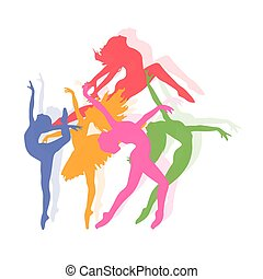 set of icons of dancing girls