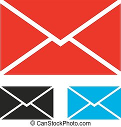 Set of icons of envelope on a white background