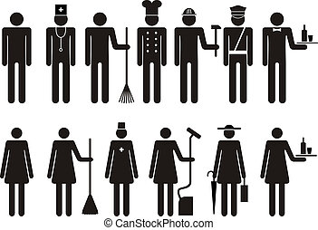 Set of icons of figure silhouette people job occupation. Vector illustration