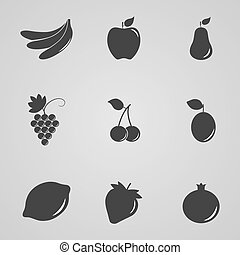 Set of icons of fruits and berries, vector illustration