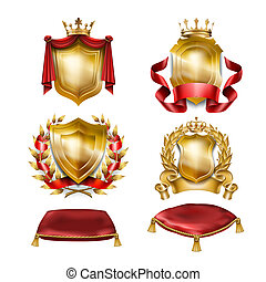 Set of icons of heraldic shields with royal golden crowns