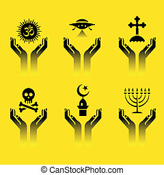 hands with religion symbols