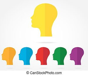 set of icons of human head