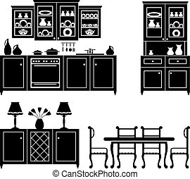 Set of icons of kitchen furniture