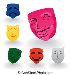 Set of icons of masks of fun and grief. A vector illustration
