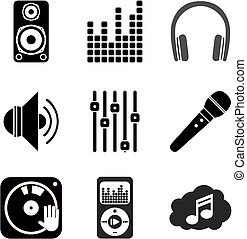 Set of icons of Music theme. Simple black