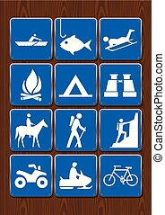 Set of icons of outdoor activities: rowing, fishing, campfire, camping, binoculars, horseback riding, hiking, climbing, motorcycle, cycling. Icons in blue color on wooden background. Vector image