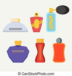 Set of icons of perfumes
