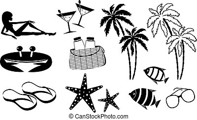 Set of icons of summer holiday