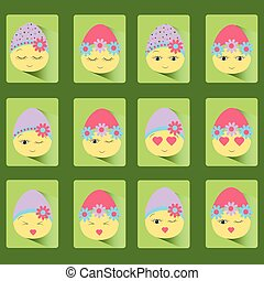 Set of icons of twelve Easter eggs-smile.