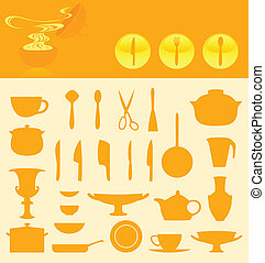 Set of icons of ware. A vector illustration