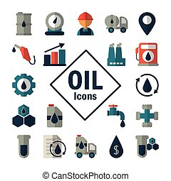 set of icons oil on white background