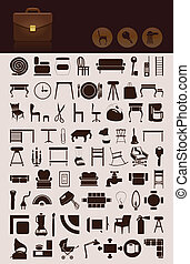 Set of icons on a house theme. A vector illustration