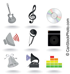 Set of icons on a musical theme. A vector illustration
