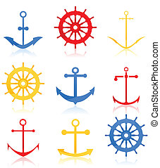 Set of icons on a sea theme. A vector illustration