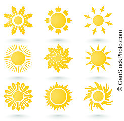 Set of icons on a sun theme. A vector illustration