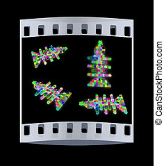 Set of icons on a theme fish. Puzzle. Illustration for design. The film strip