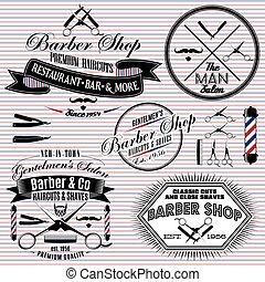 set of icons on a theme hair salon