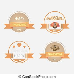 Set of icons on a theme of vintage Thanksgiving.