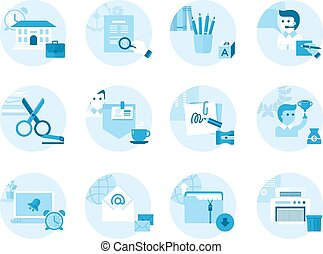 Set of icons on a theme office, work, management.