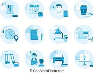 Set of icons on a theme office, work, management. Made in flat style.