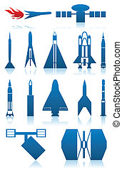 Set of icons on a theme space of dark blue colour. A vector illustration