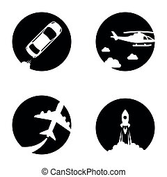 Set of icons on a theme Transport