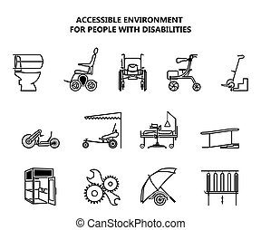 Set of icons on accessible environment for people with disabilities.