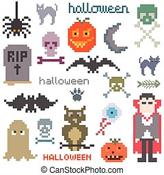 Set of icons on halloween theme