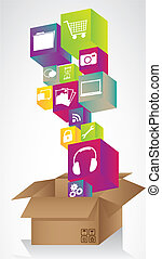 Set of icons on the colored cubes, leaving a cardboard box. vector illustration