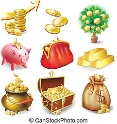 Set of icons on the financial theme