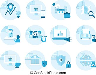 Operations management on the gears blueprint style stock set of icons on the topic business management profit made in a flat malvernweather Image collections