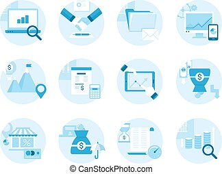 Set of icons on the topic business, management, profit. Made in a flat style.