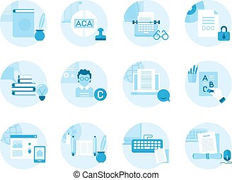 Set of icons on the topic writing, text editing, printing.