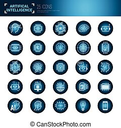 Set Of Icons Over Blue Circuit Motherboard Background Artificial Intelligence And Modern Technology Concept
