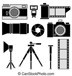 Set of icons photo accessories.
