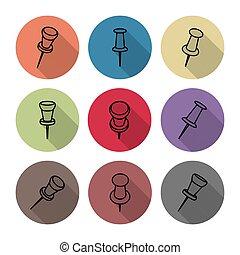 Set of icons pushpins, vector