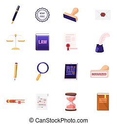 Set of Icons Quill Pen and Rubber Stamper, Letter with Wax Seal Stamp, Scales and Law Book. Scroll Paper Document, Inkwell, Tablet, Hourglass Isolated on White Background. Cartoon Vector Illustration