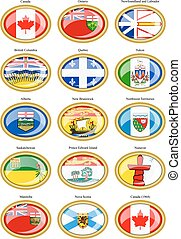 Set of icons. Regions of Canada flags.