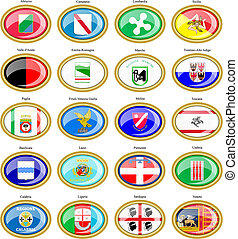 Set of icons. Regions of Italy flags. 3D.