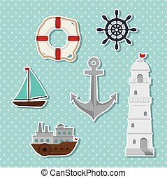 set of icons relating to the sea