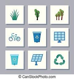 set of icons renewable energy on white background