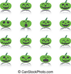 Set of Icons Scary Halloween Pumpkins, Vector Illustration.
