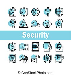set of icons security, line style icon