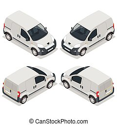 Set of icons small truck for transportation cargo. Van for the carriage of cargo. Delivery car. Vector 3d isometric illustration.
